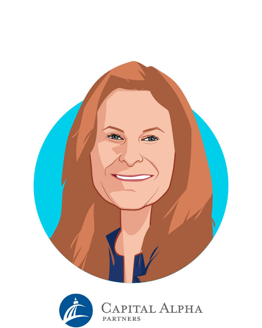Main caricature of Kim Monk, who is speaking at HLTH and is Co-Founder/Partner at Capital Alpha Partners
