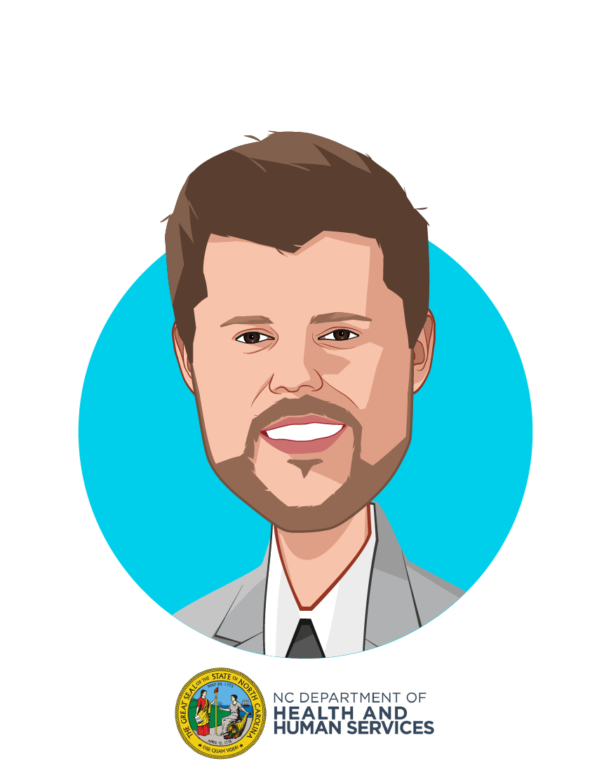 Main caricature of Kody H. Kinsley, who is speaking at HLTH and is Deputy Secretary for Behavioral Health & IDD at N.C. Department of Health & Human Services
