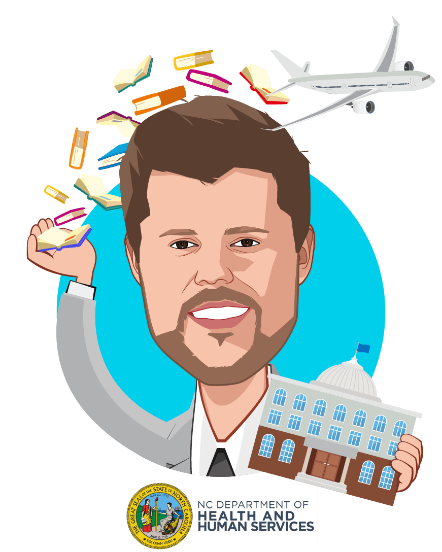 Overlay caricature of Kody H. Kinsley, who is speaking at HLTH and is Deputy Secretary for Behavioral Health & IDD at N.C. Department of Health & Human Services