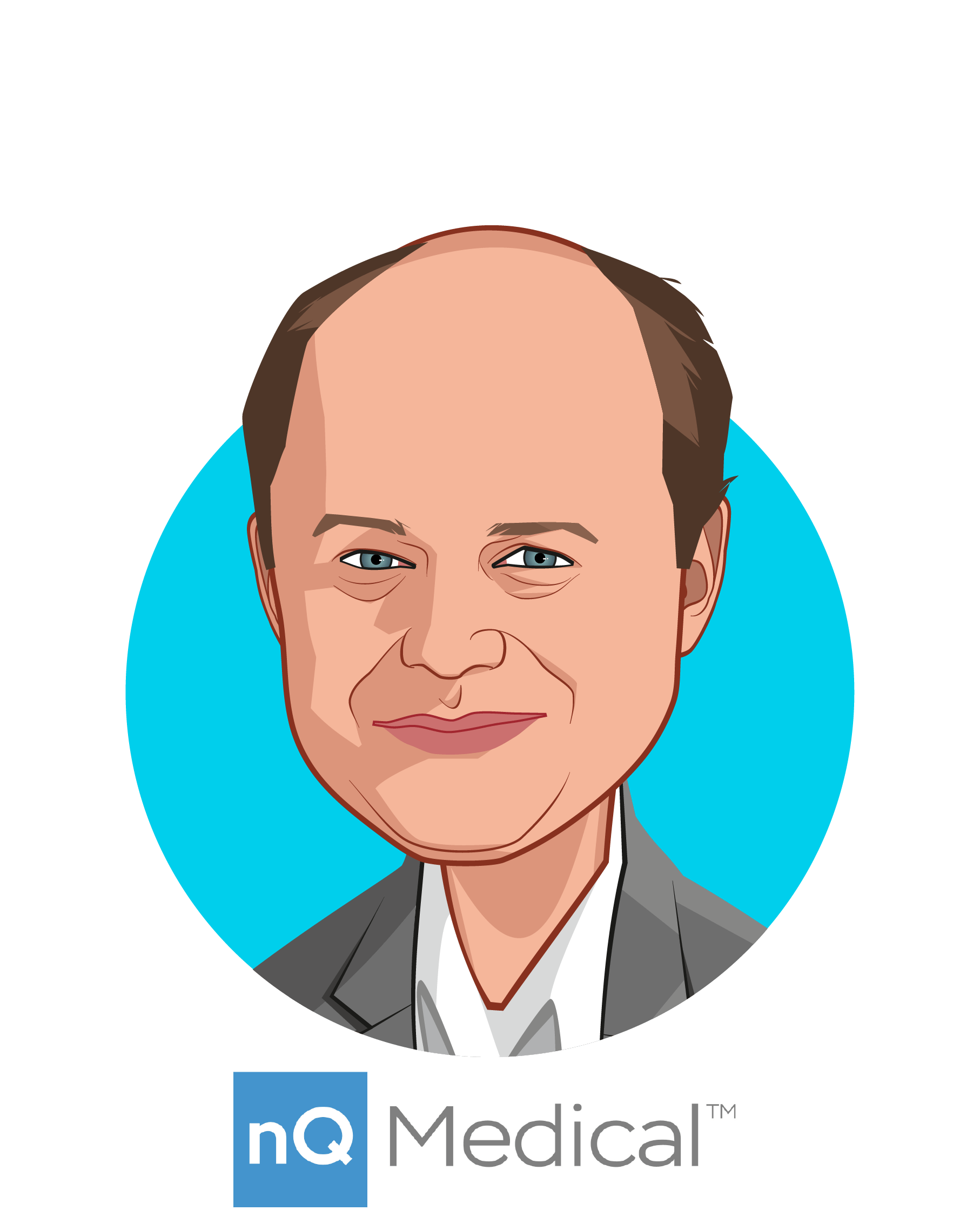 Main caricature of Dr. Richie Bavasso, who is speaking at HLTH and is CEO at nQ Medical, Inc.