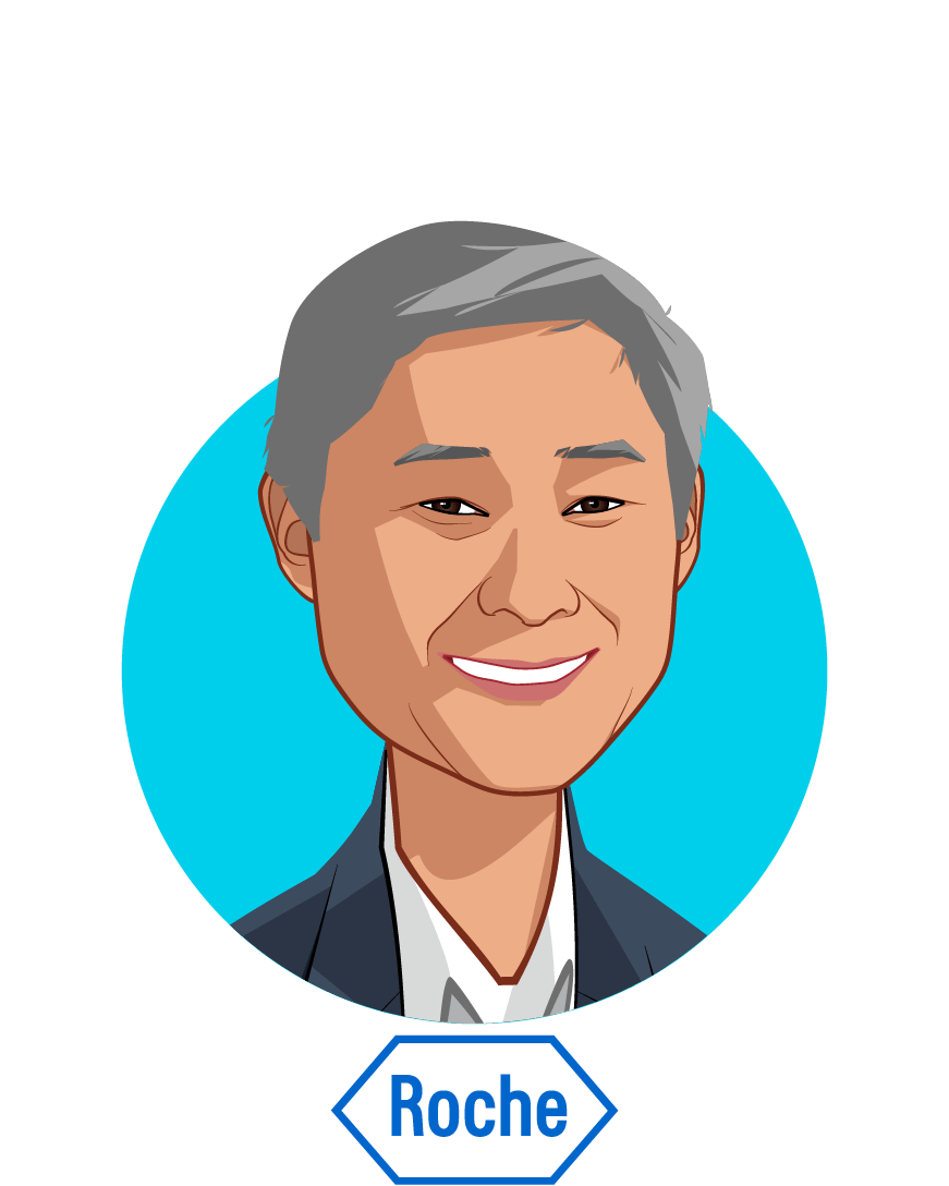 Main caricature of Ron Park, who is speaking at HLTH and is Vice President, Global Product Strategy, Head for Personalised Healthcare at Roche