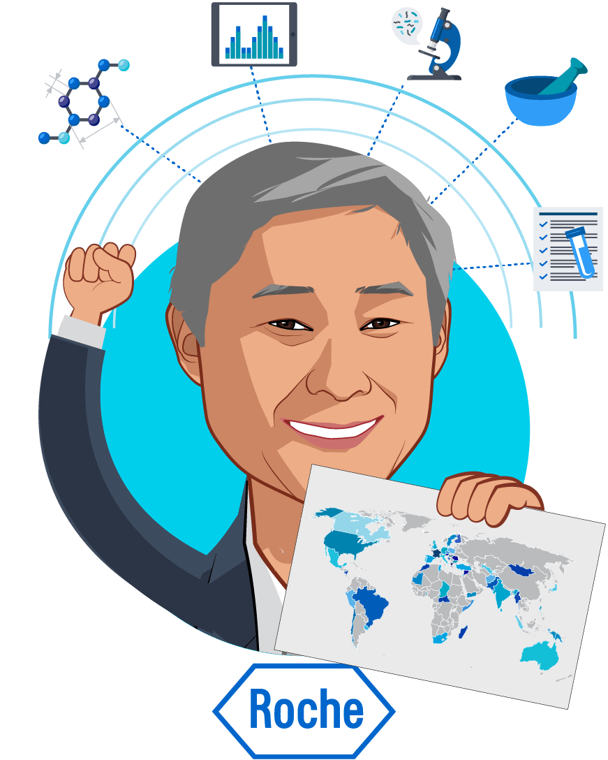 Overlay caricature of Ron Park, who is speaking at HLTH and is Vice President, Global Product Strategy, Head for Personalised Healthcare at Roche