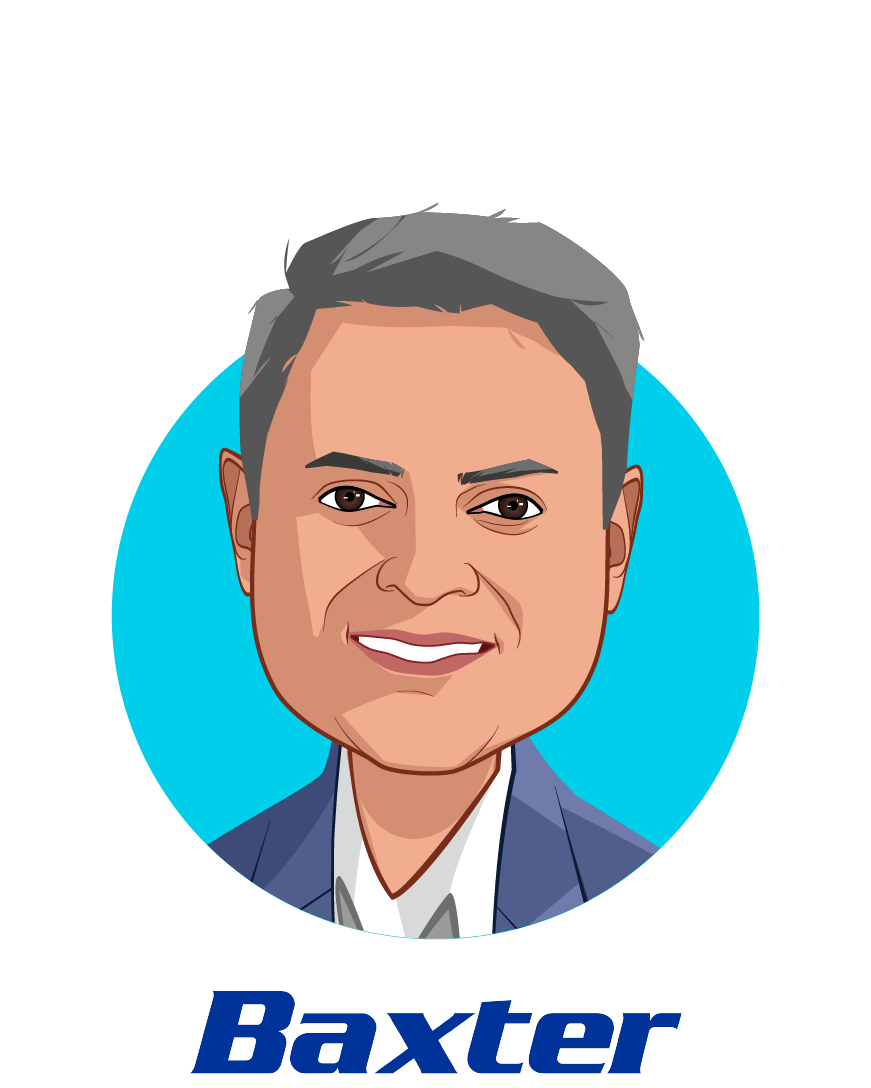 Main caricature of Sumant Ramachandra, M.D., Ph.D., who is speaking at HLTH and is  President, Pharmaceuticals and Chief Science & Technology Officer at Baxter International Inc.