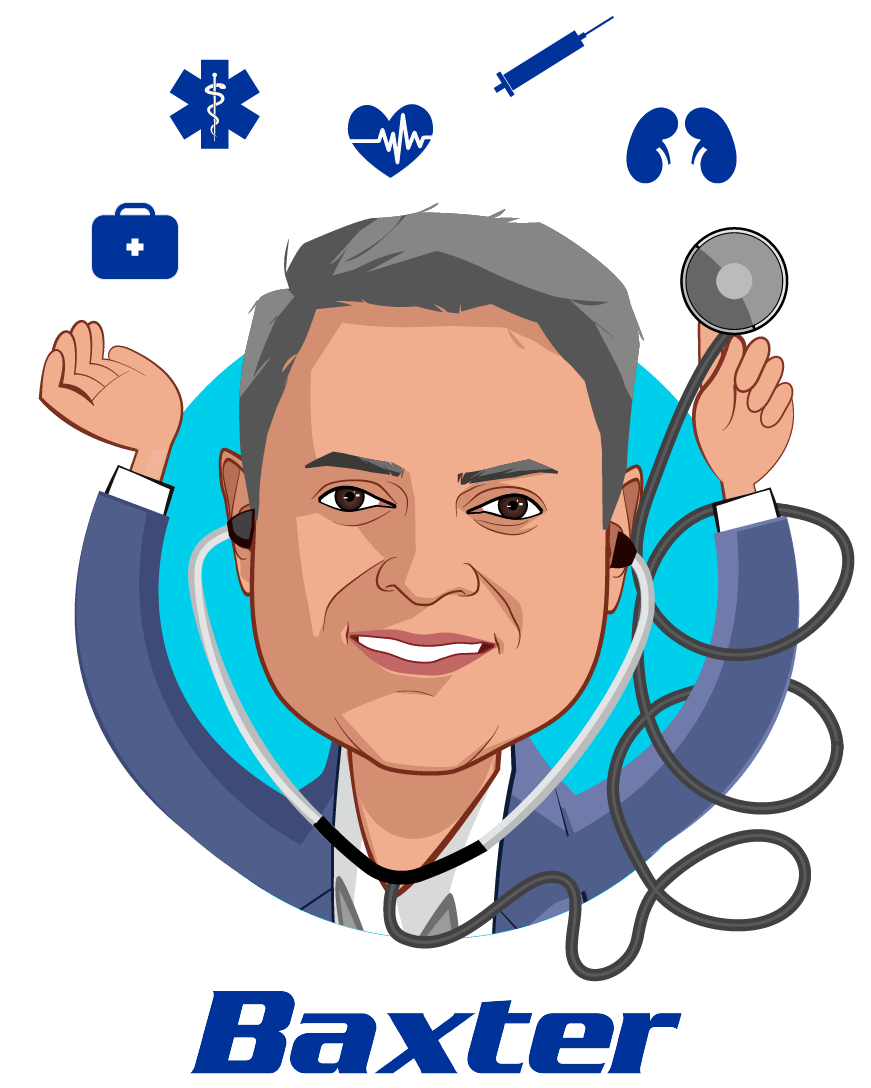 Overlay caricature of Sumant Ramachandra, M.D., Ph.D., who is speaking at HLTH and is  President, Pharmaceuticals and Chief Science & Technology Officer at Baxter International Inc.