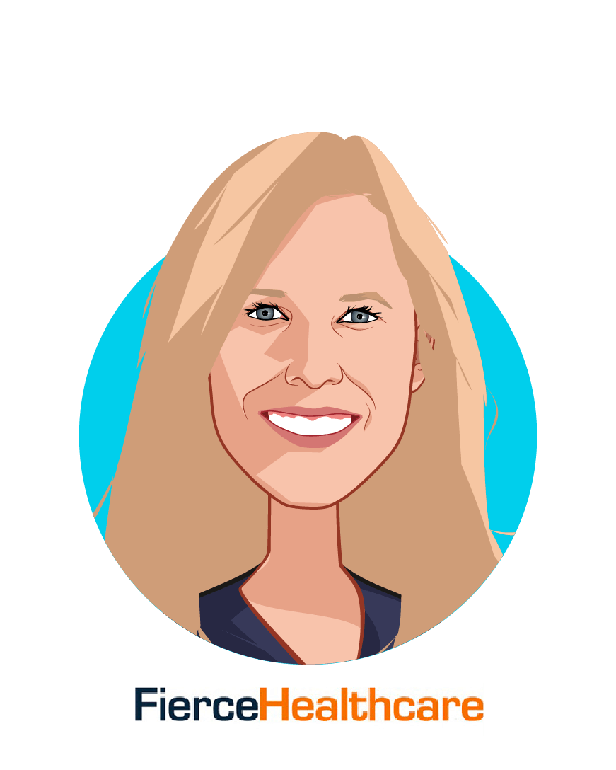 Main caricature of Tina Reed, who is speaking at HLTH and is Executive Editor at FierceHealthcare