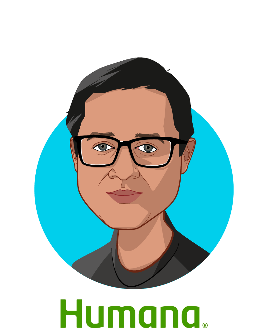 Main caricature of Vishwanathan Krishnamoorthy, who is speaking at HLTH and is Chief Product & Experience Officer - Humana Edge at Humana