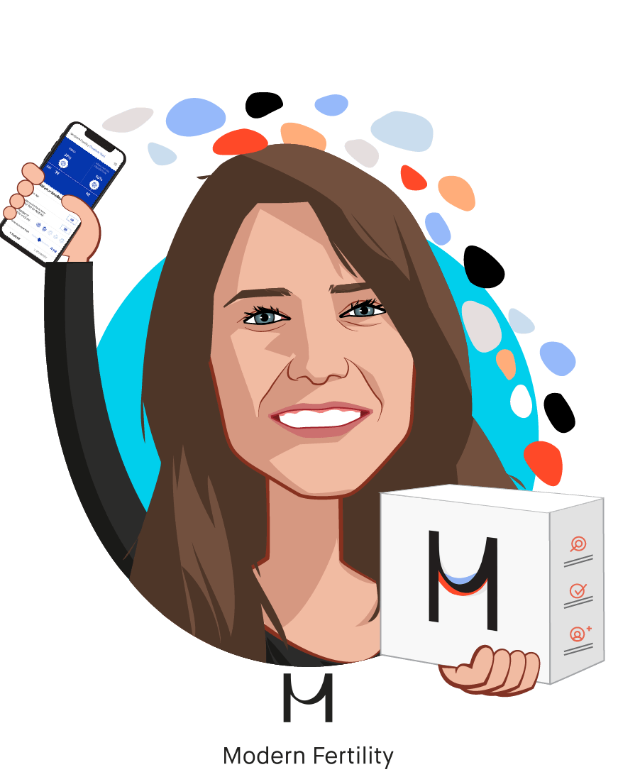 Overlay caricature of Afton Vechery, who is speaking at HLTH and is CEO and Co-founder at Modern Fertility