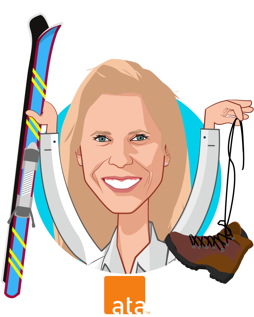 Overlay caricature of Ann Mond Johnson, who is speaking at HLTH and is CEO at ATA