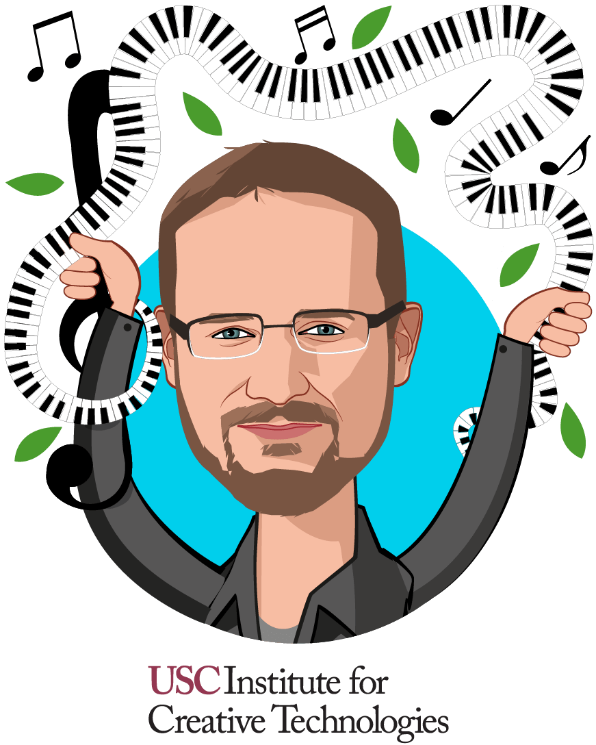 Overlay caricature of Arno Hartholt, who is speaking at HLTH and is Director of R&D Integration at USC Institute for Creative Technologies