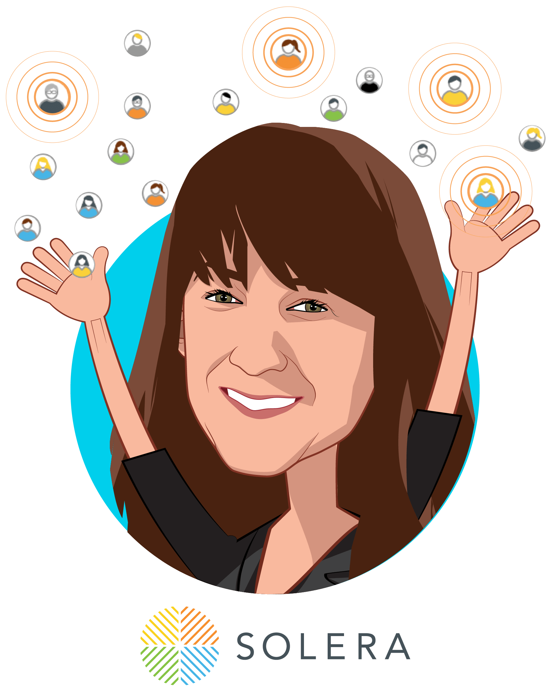 Overlay caricature of Brenda Schmidt, who is speaking at HLTH and is Founder and CEO at Solera Health