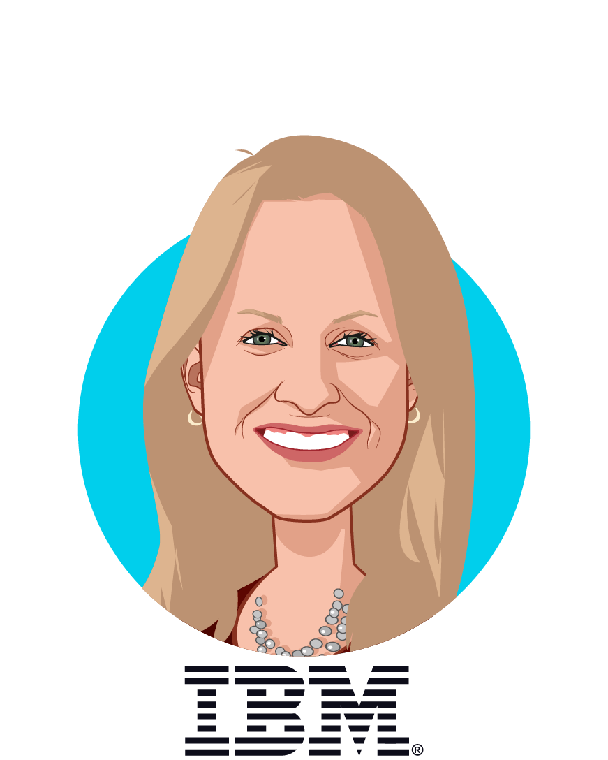 Main caricature of Carole Mendoza, who is speaking at HLTH and is Director, Global Health Benefits & Well-being Strategy at IBM