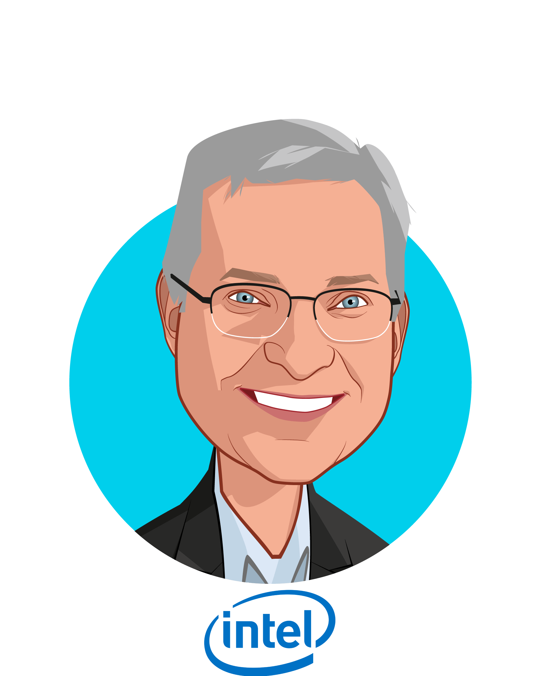 Main caricature of David Ryan, who is speaking at HLTH and is GM, Health & Life Sciences Business at Intel Corporation