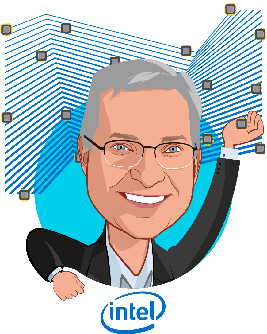 Overlay caricature of David Ryan, who is speaking at HLTH and is GM, Health & Life Sciences Business at Intel Corporation