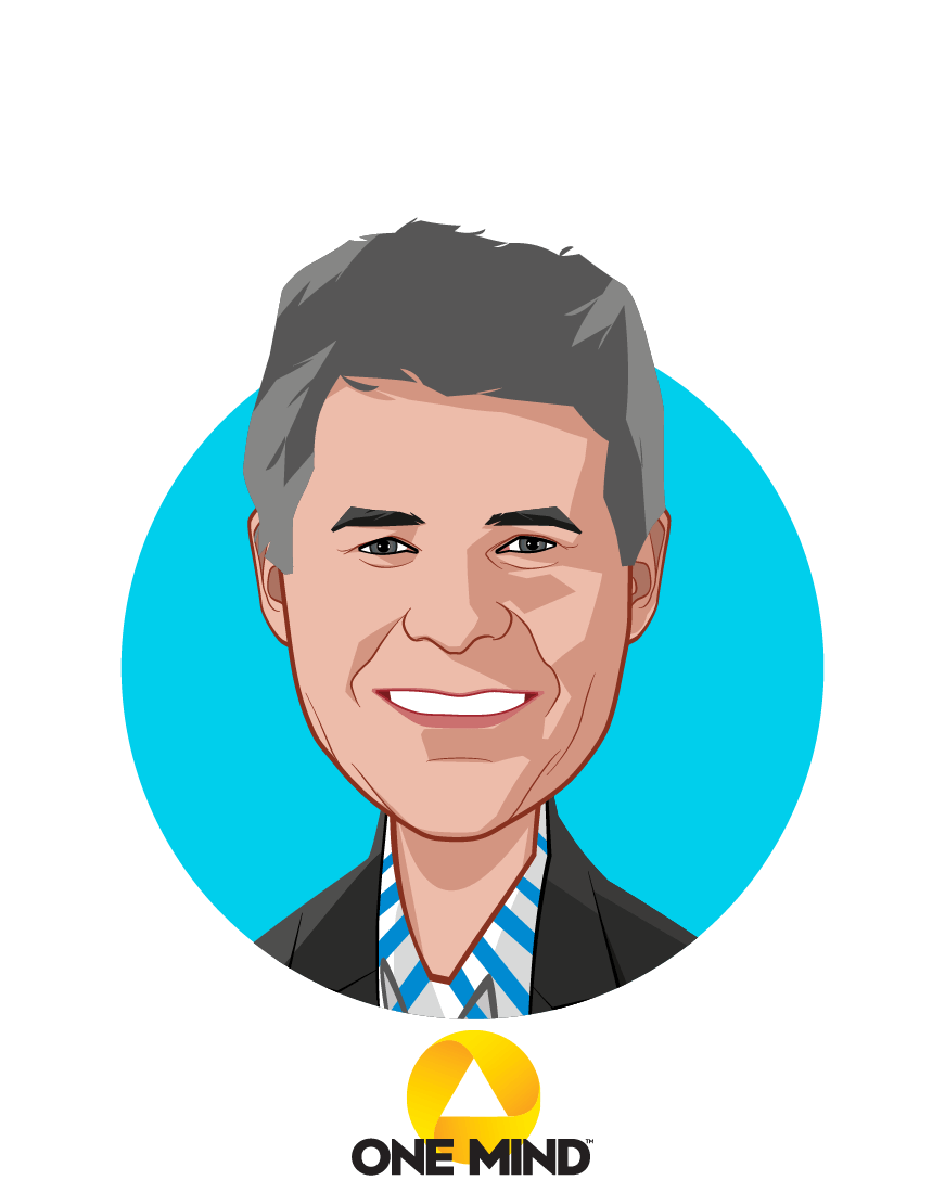 Main caricature of Garen Staglin, who is speaking at HLTH and is Chairman & Co-Founder at One Mind