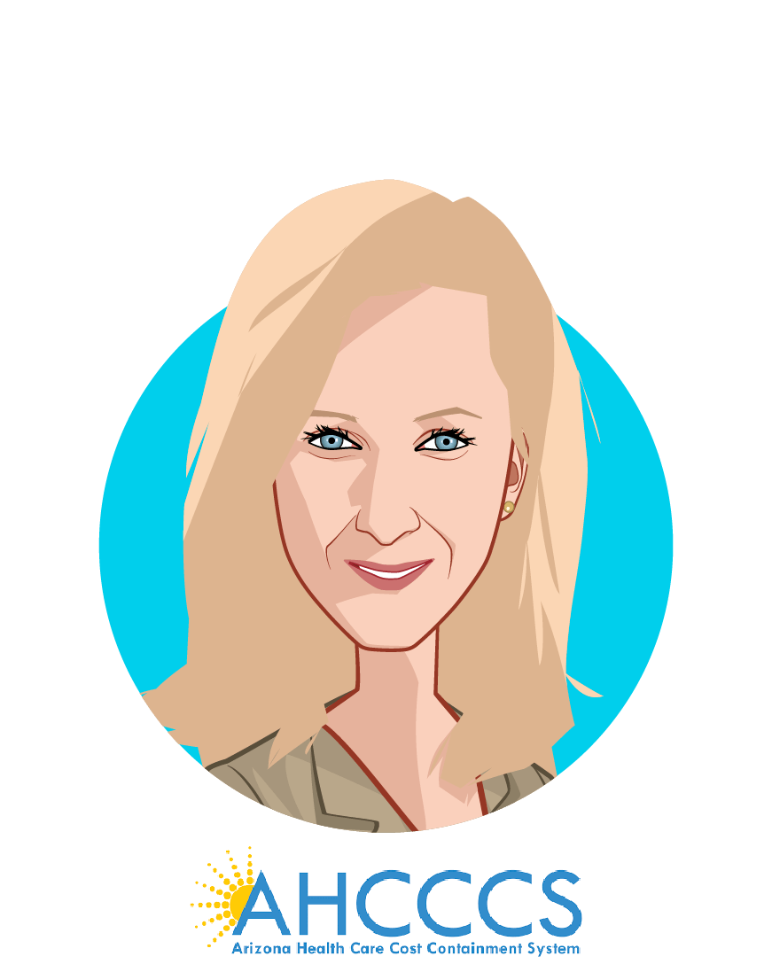Main caricature of Jami Snyder, who is speaking at HLTH and is Director at AHCCCS