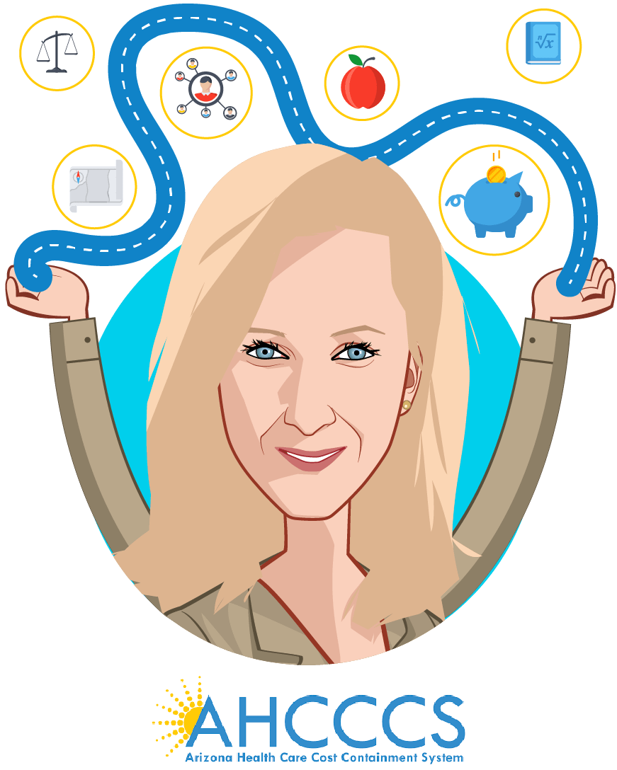 Overlay caricature of Jami Snyder, who is speaking at HLTH and is Director at AHCCCS