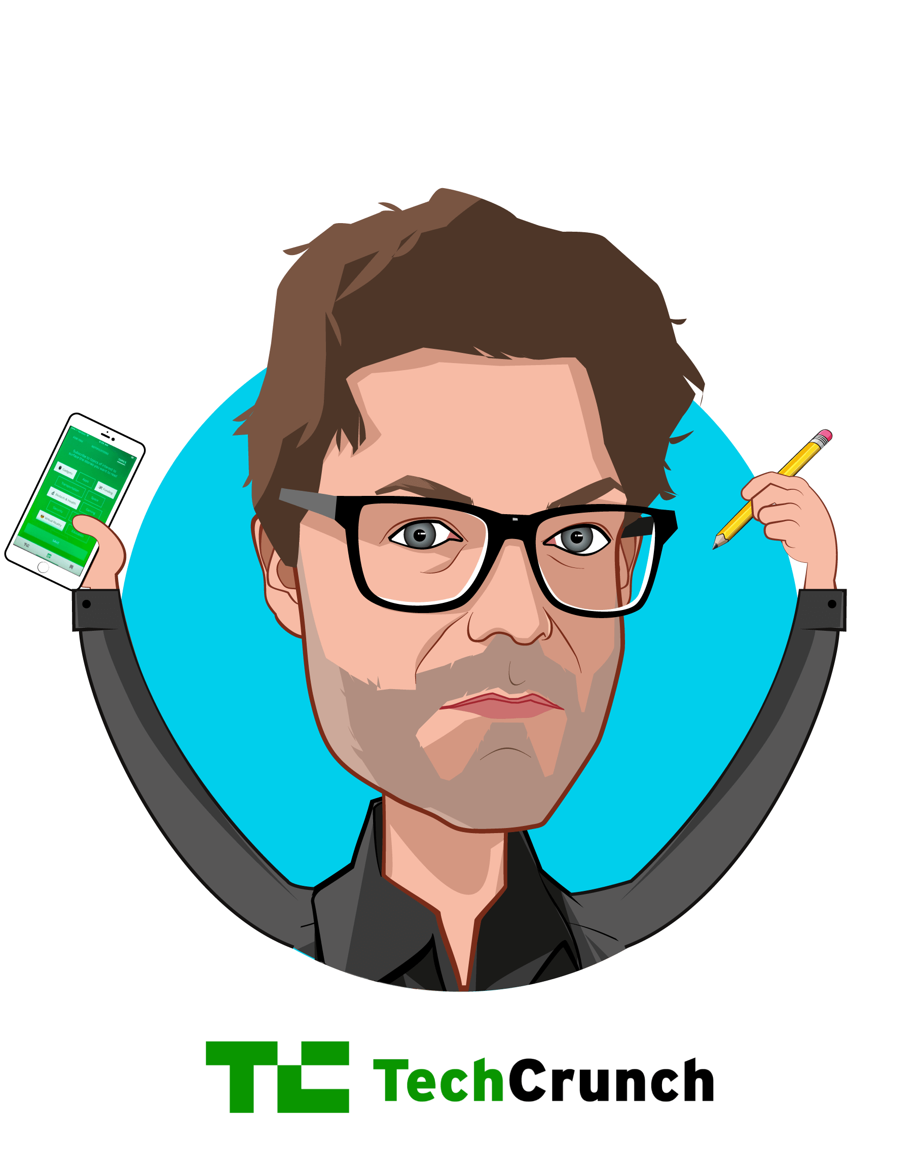 Overlay caricature of Jon Shieber, who is speaking at HLTH and is Senior Editor at TechCrunch