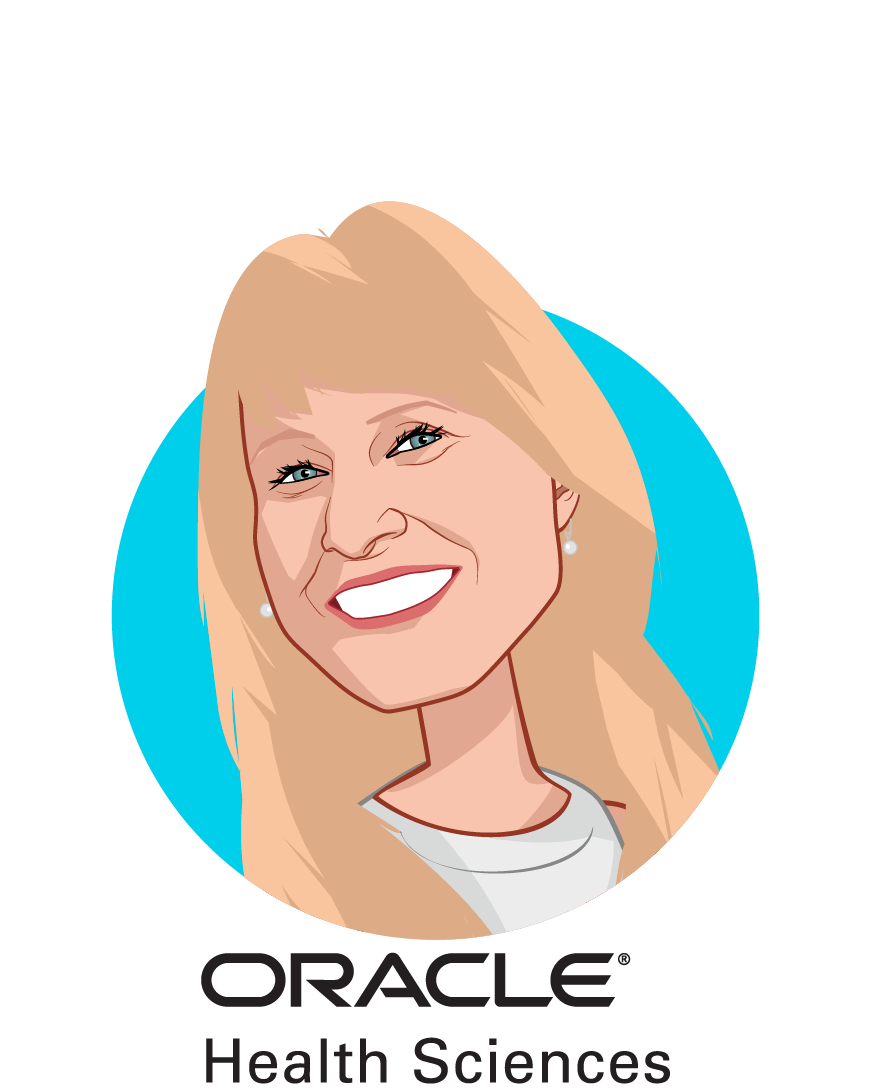 Main caricature of Katherine Vandebelt, who is speaking at HLTH and is Global Head of Clinical Innovation at Oracle Health Science Global Business Unit