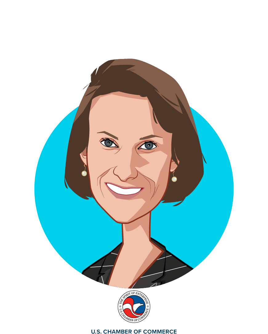 Main caricature of Katie Mahoney, who is speaking at HLTH and is Vice President, Health Policy at US Chamber of Commerce