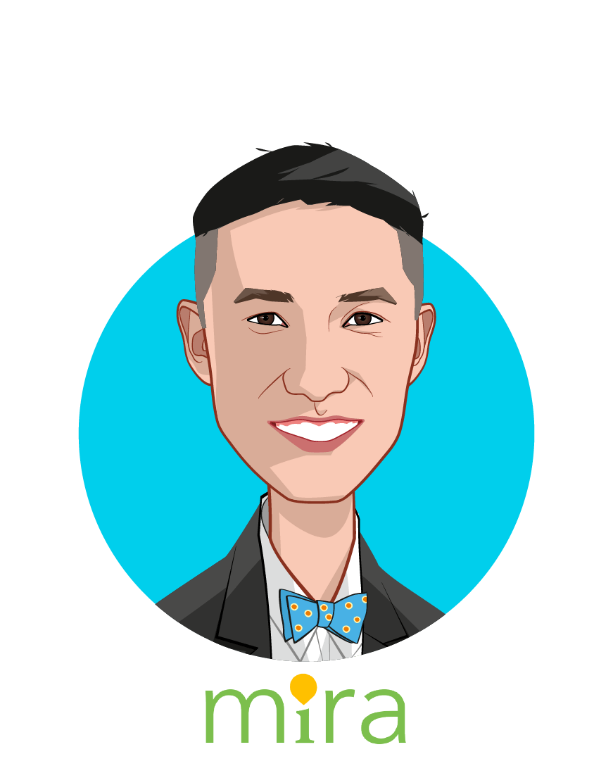 Main caricature of Khang Vuong, who is speaking at HLTH and is Founder & CEO at MIRA