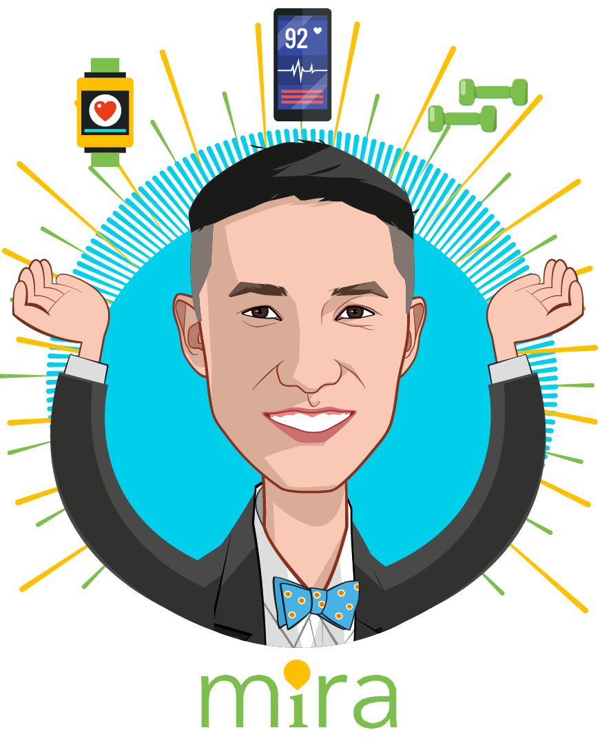 Overlay caricature of Khang Vuong, who is speaking at HLTH and is Founder & CEO at MIRA