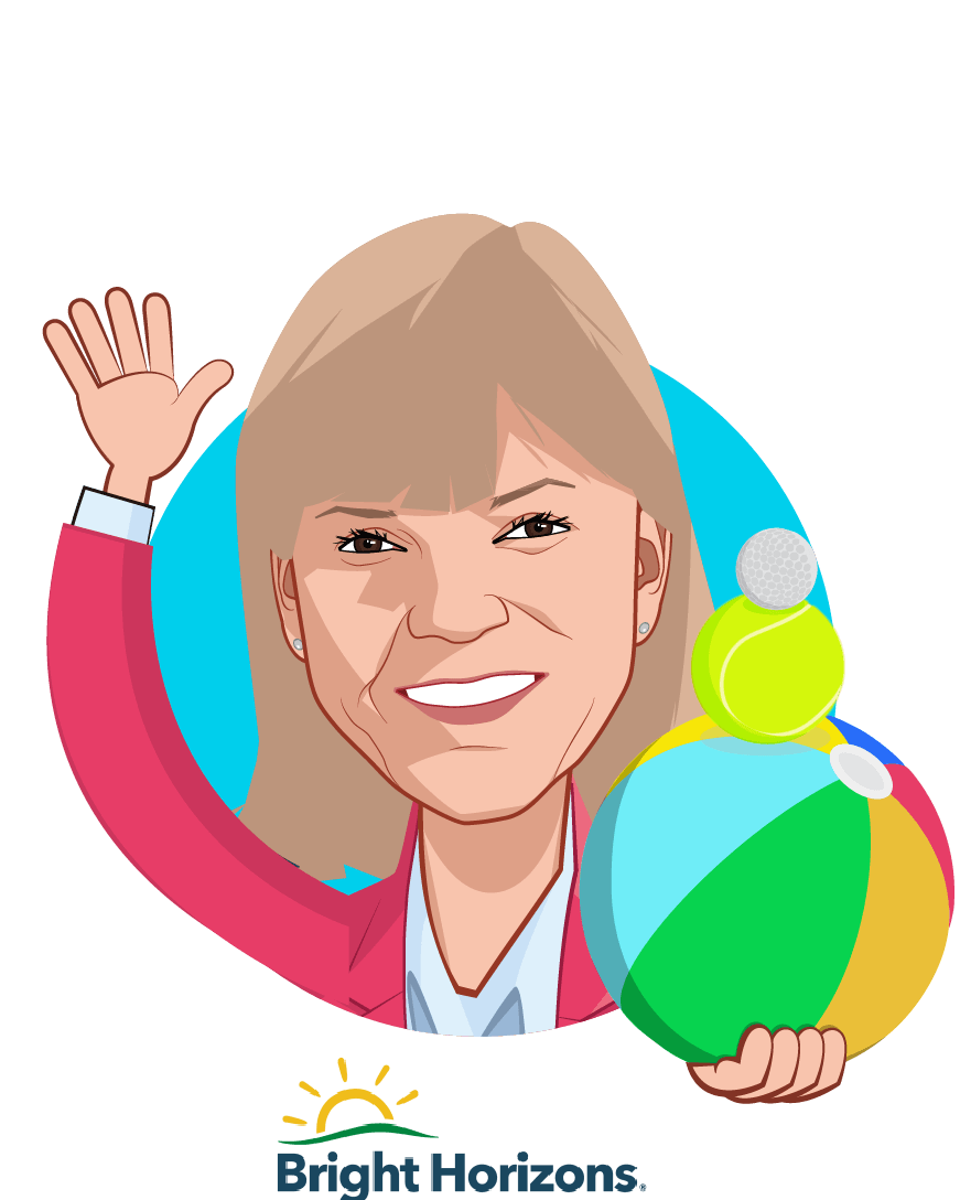 Overlay caricature of Maribeth Bearfield, who is speaking at HLTH and is Chief Human Resources Officer  at Bright Horizons