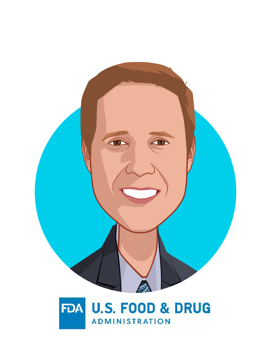 Main caricature of Matthew Diamond, MD, PhD, who is speaking at HLTH and is Medical Officer, Digital Health at FDA