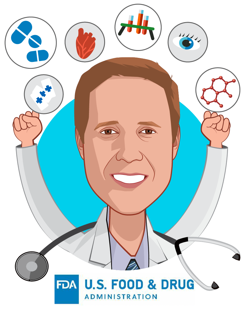 Overlay caricature of Matthew Diamond, MD, PhD, who is speaking at HLTH and is Medical Officer, Digital Health at FDA