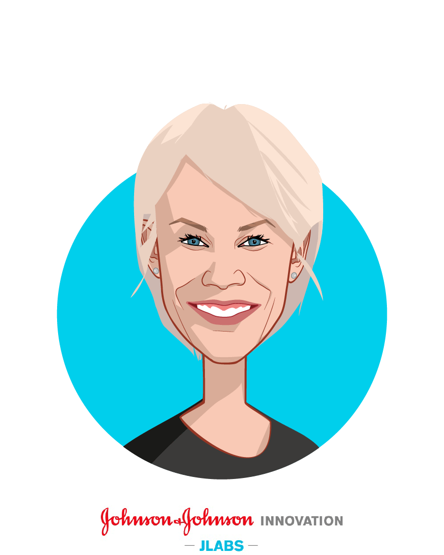 Main caricature of Melinda Richter, who is speaking at HLTH and is Global Head, Johnson & Johnson Innovation  at JLABS