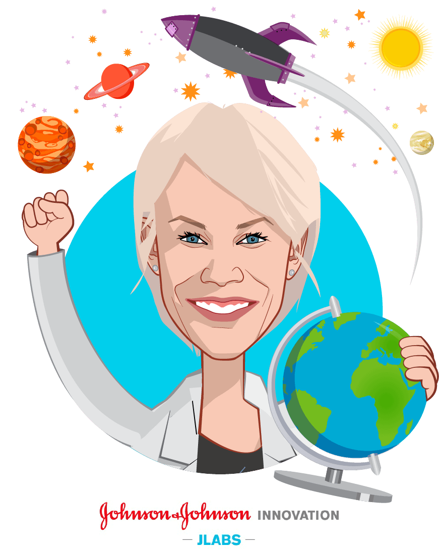 Overlay caricature of Melinda Richter, who is speaking at HLTH and is Global Head, Johnson & Johnson Innovation  at JLABS