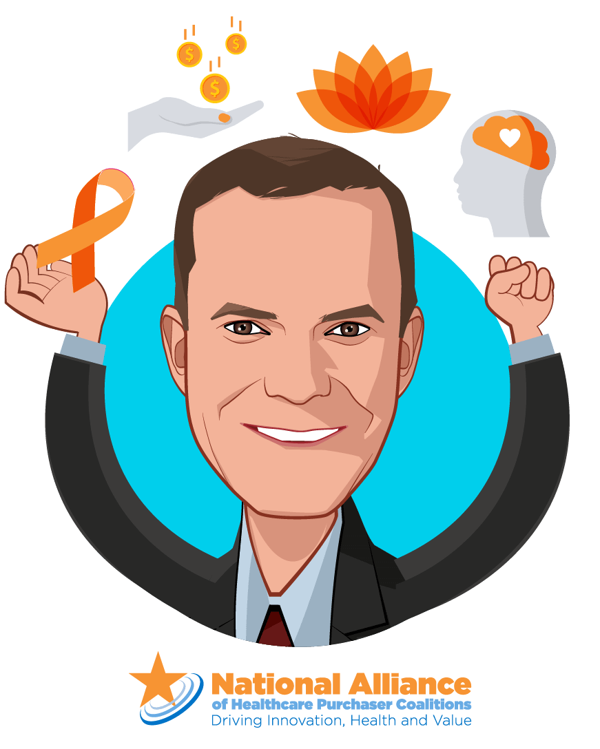 Overlay caricature of Michael Thompson, who is speaking at HLTH and is President & CEO at National Alliance of Healthcare Purchaser Coalitions