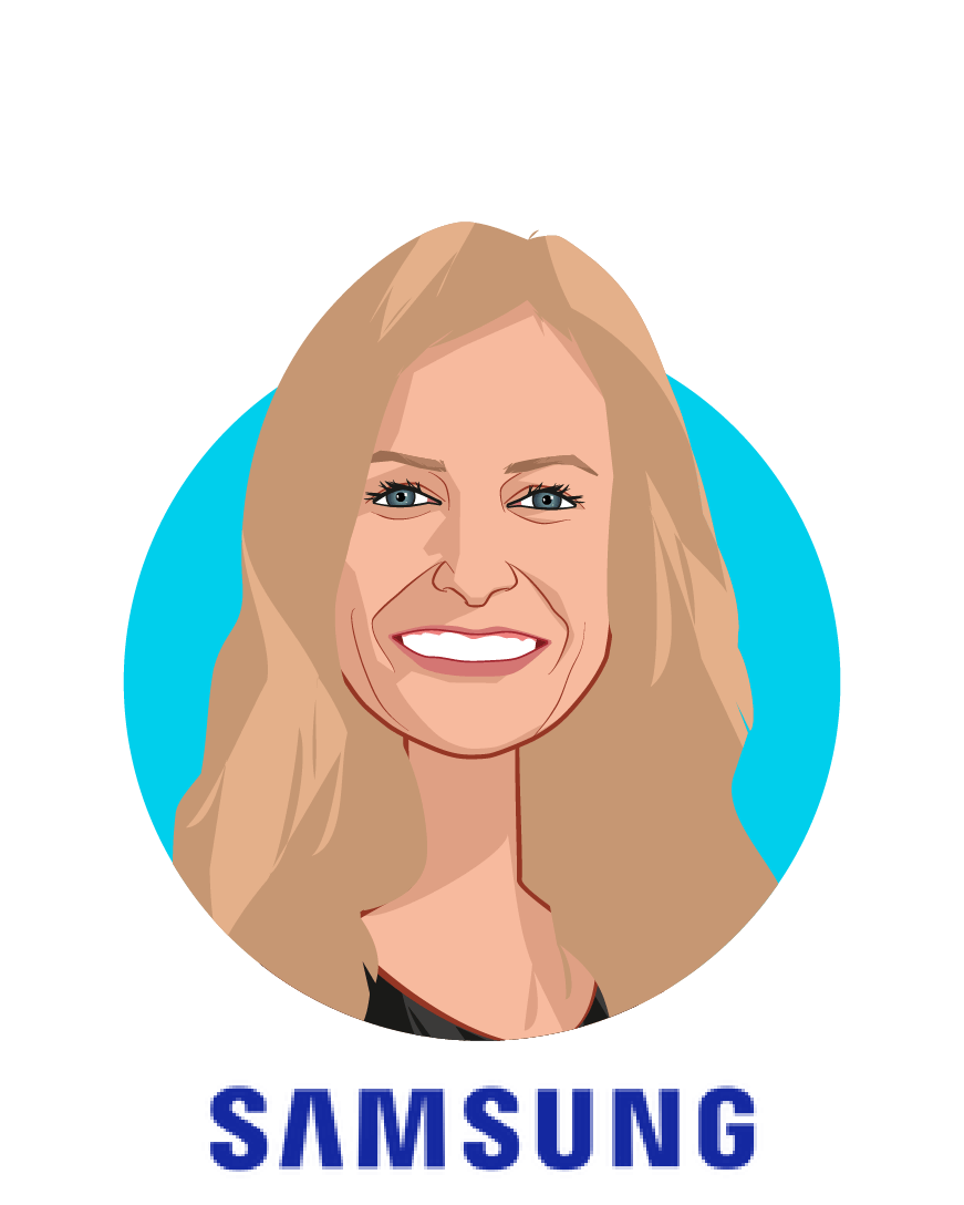 Main caricature of Natalie Schneider, who is speaking at HLTH and is Vice President Digital Health at Samsung Electronics America