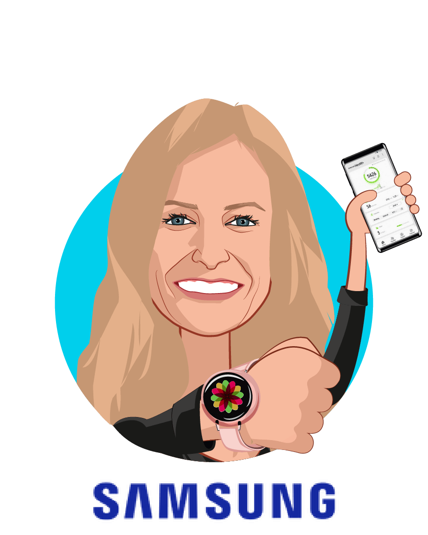 Overlay caricature of Natalie Schneider, who is speaking at HLTH and is Vice President Digital Health at Samsung Electronics America