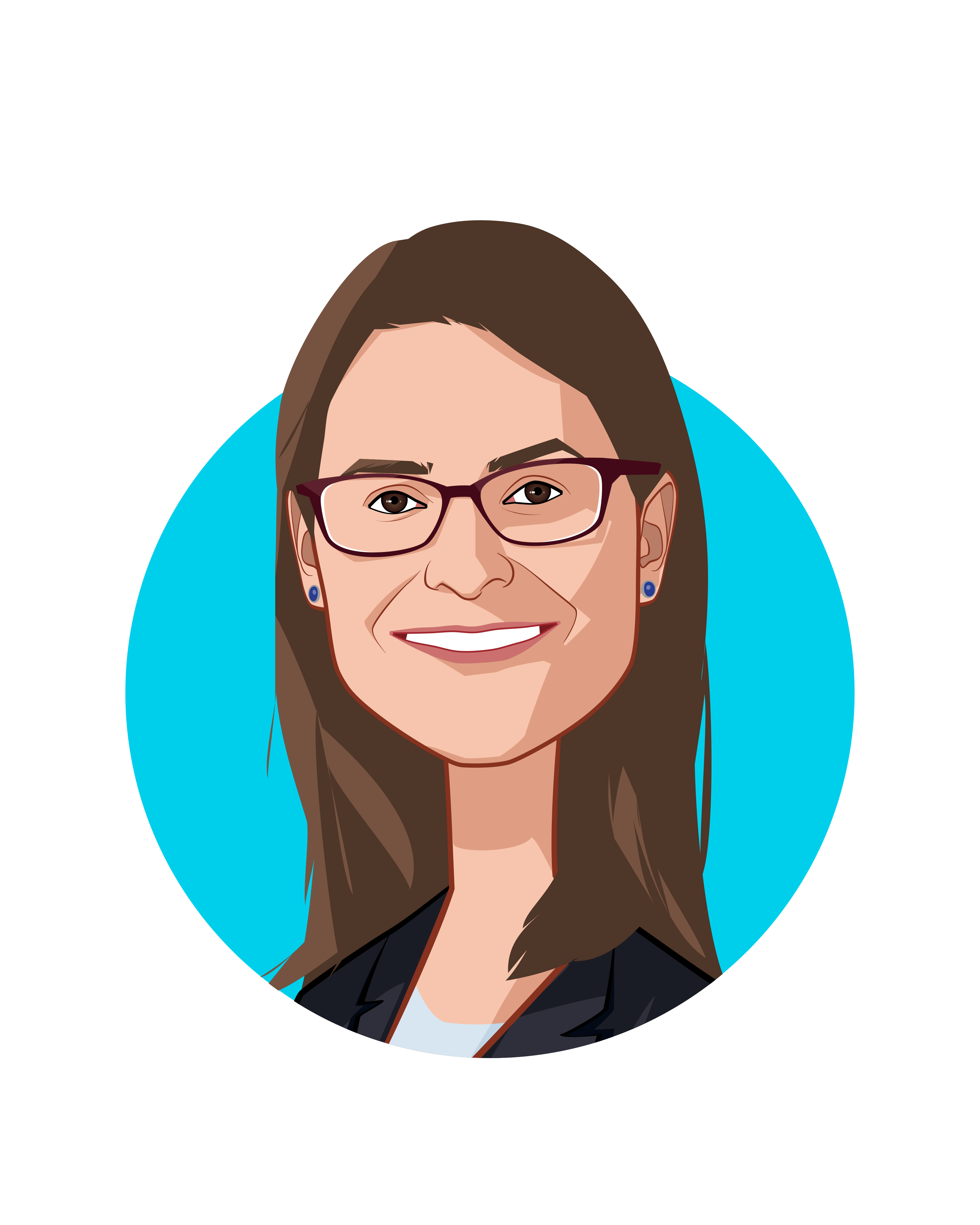 Main caricature of Rebecca L. Kaul, who is speaking at HLTH and is Vice President, Chief Innovation Officer  at MD Anderson Cancer Center