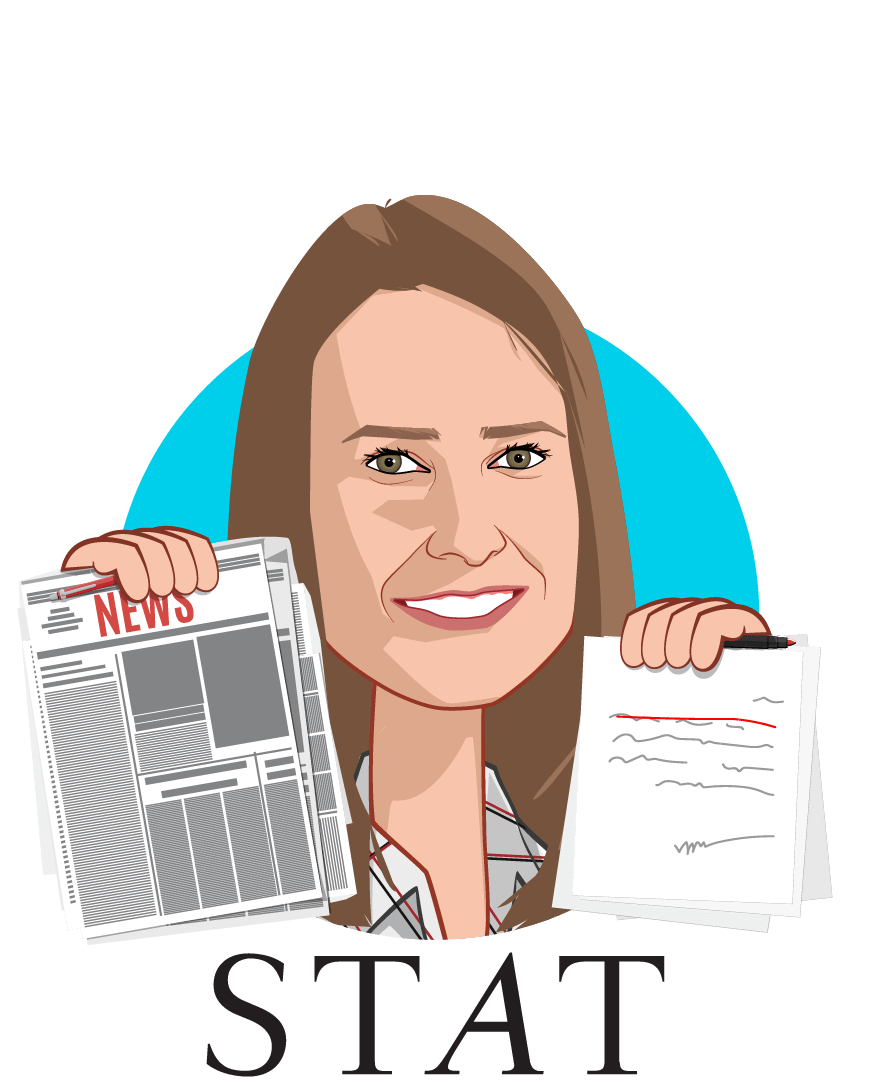 Overlay caricature of Rebecca Robbins, who is speaking at HLTH and is San Francisco Correspondent at STAT