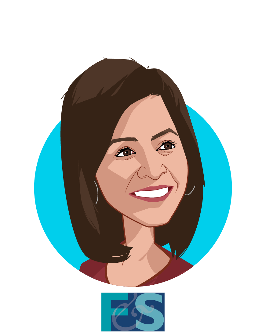 Main caricature of Reenita Das, who is speaking at HLTH and is Senior Vice President and Partner at Frost & Sullivan