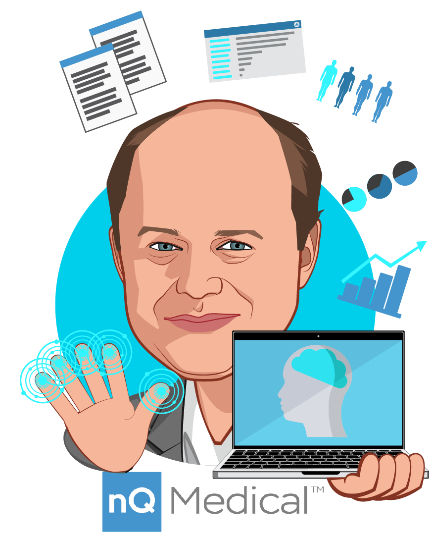 Overlay caricature of Dr. Richie Bavasso, who is speaking at HLTH and is CEO at nQ Medical, Inc.