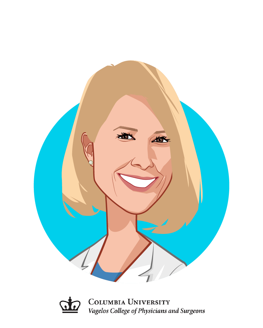 Main caricature of Sara Seidelmann M.D., Ph.D, who is speaking at HLTH and is Physician Scientist at Columbia University College of Physicians and Surgeons