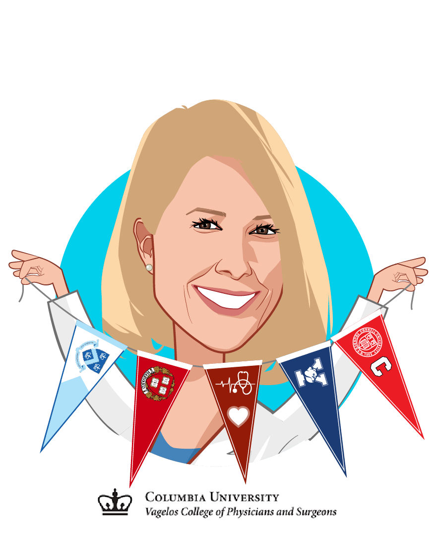 Overlay caricature of Sara Seidelmann M.D., Ph.D, who is speaking at HLTH and is Physician Scientist at Columbia University College of Physicians and Surgeons