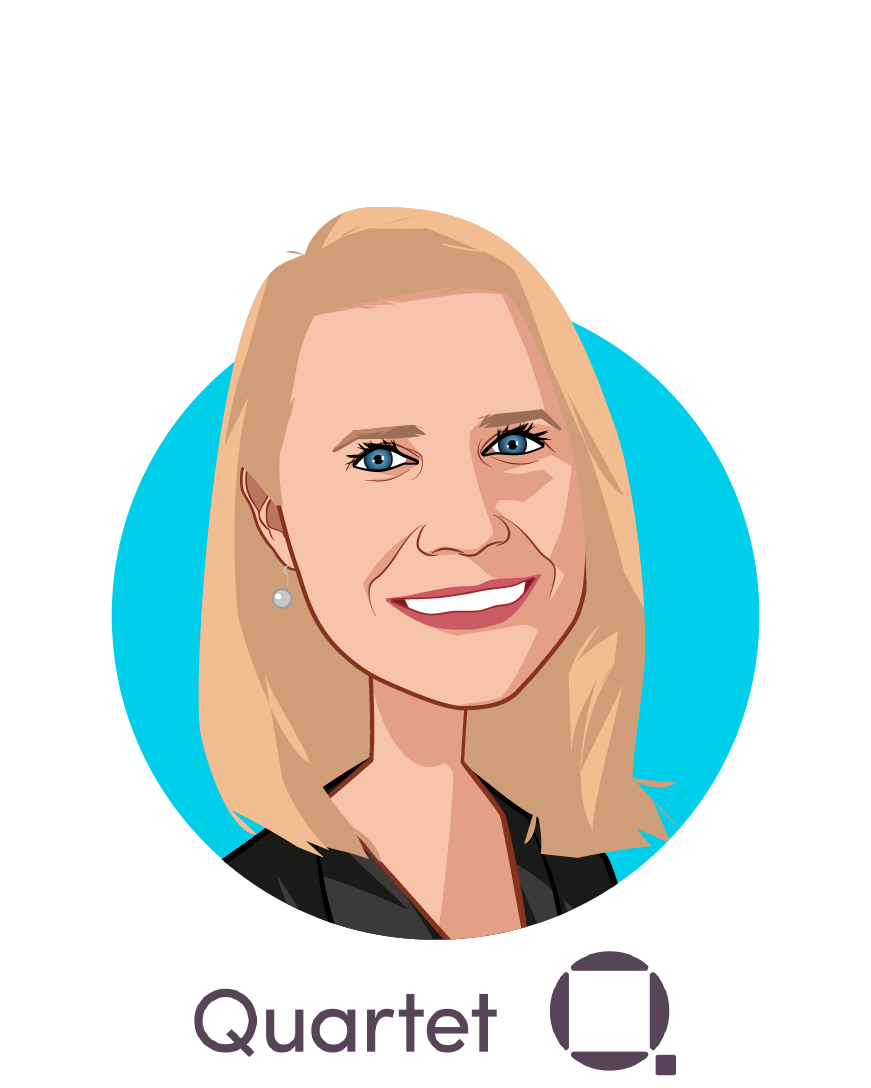 Main caricature of Sarah Donnelly, who is speaking at HLTH and is Chief Product Officer at Quartet Health