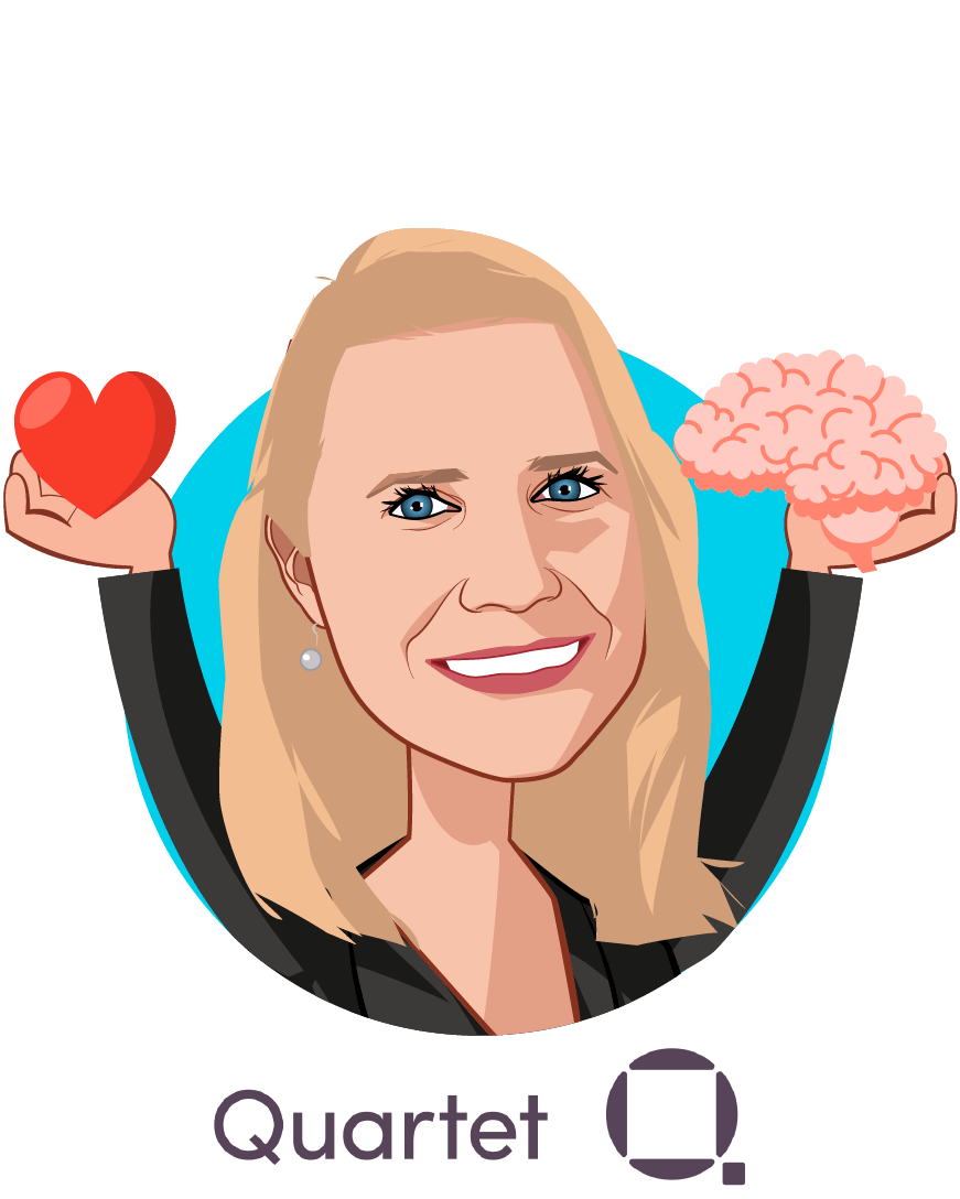 Overlay caricature of Sarah Donnelly, who is speaking at HLTH and is Chief Product Officer at Quartet Health