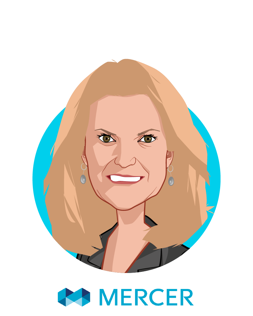 Main caricature of Tracy Watts, who is speaking at HLTH and is Senior Partner at Mercer