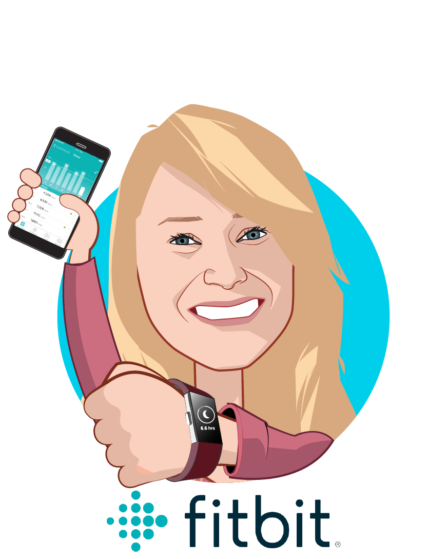 Overlay caricature of Amy McDonough , who is speaking at HLTH and is SVP and General Manager at Fitbit Health Solutions
