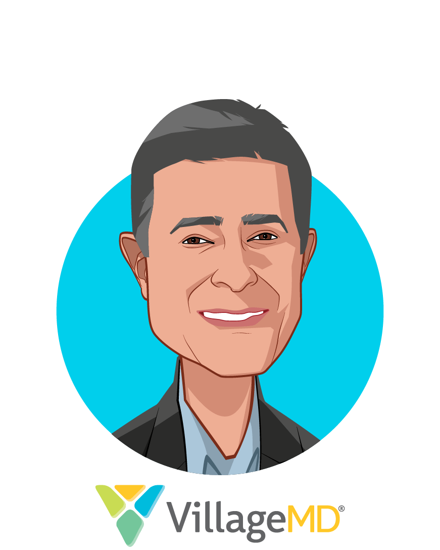 Main caricature of Clive Fields, MD, who is speaking at HLTH and is Co-Founder & Chief Medical Officer at VillageMD