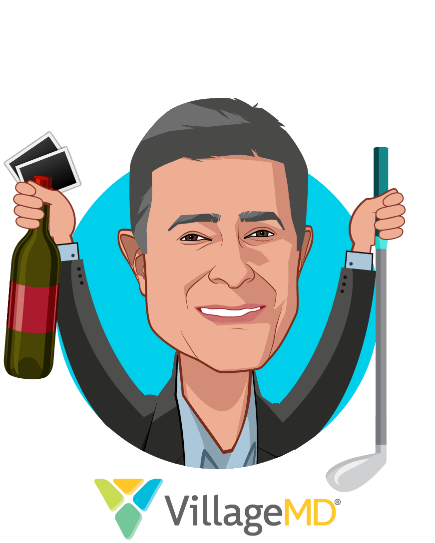 Overlay caricature of Clive Fields, MD, who is speaking at HLTH and is Co-Founder & Chief Medical Officer at VillageMD