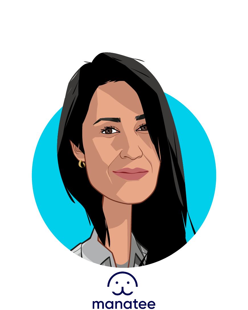 Main caricature of Damayanti Dipayana, who is speaking at HLTH and is CEO and co-founder at Manatee