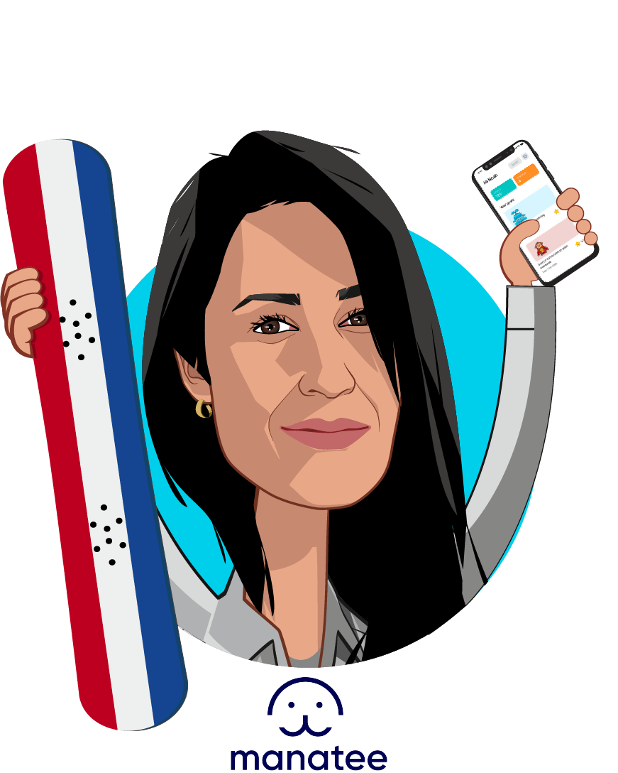 Overlay caricature of Damayanti Dipayana, who is speaking at HLTH and is CEO and co-founder at Manatee