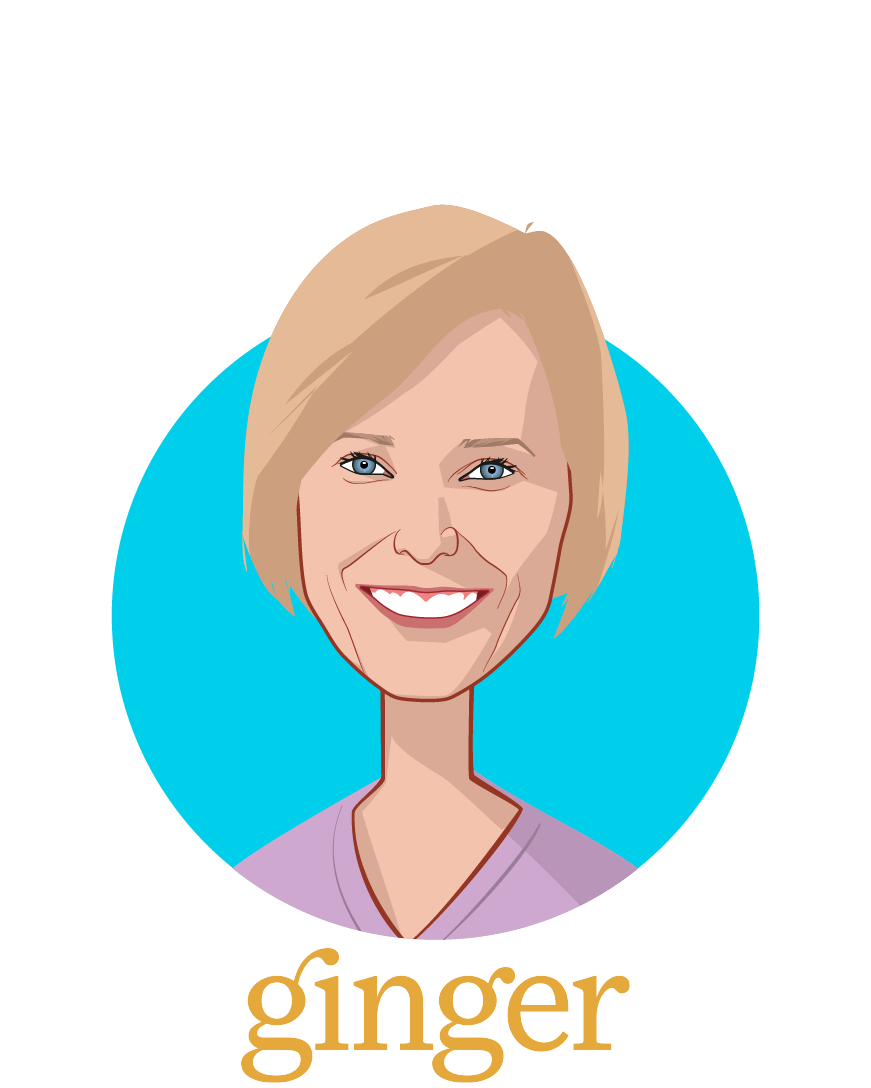Main caricature of Dana Udall, PhD, who is speaking at HLTH and is Chief Clinical Officer at Ginger