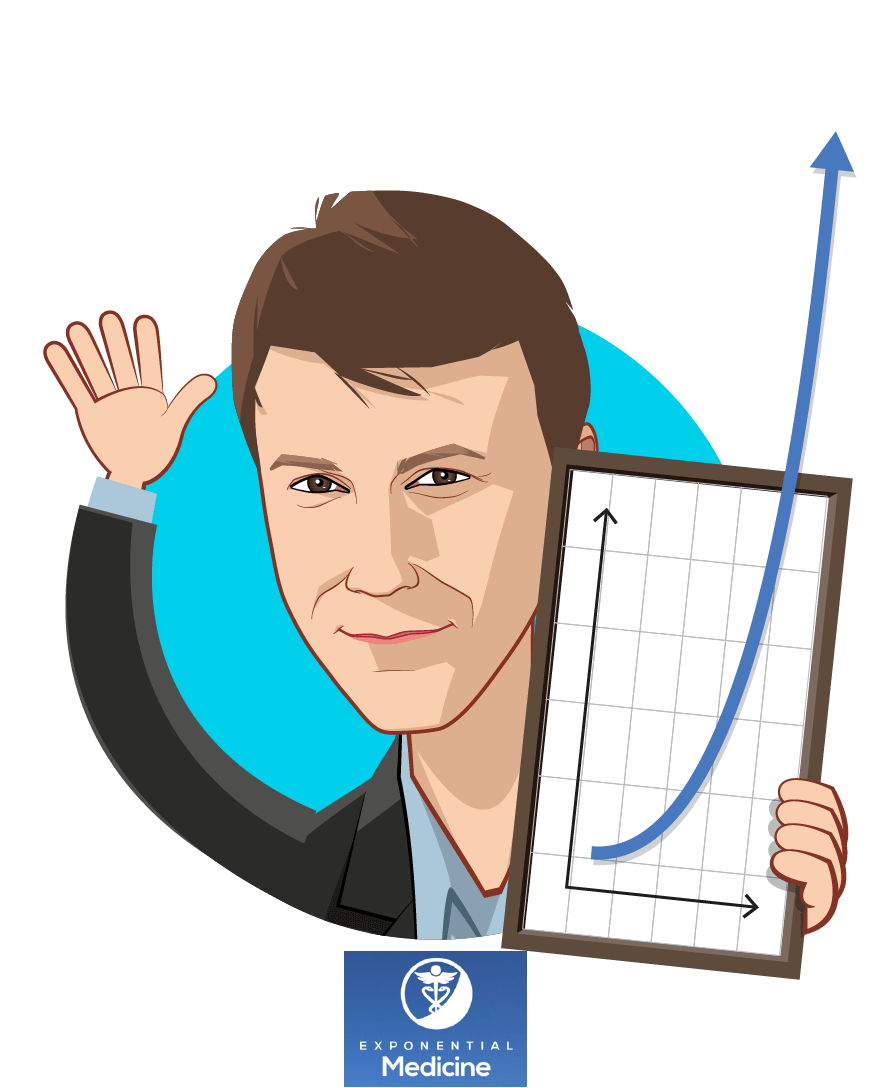Overlay caricature of Daniel Kraft, MD, who is speaking at HLTH and is Founder & Chair / Faculty Chair for Medicine at Exponential Medicine / Singularity Univ