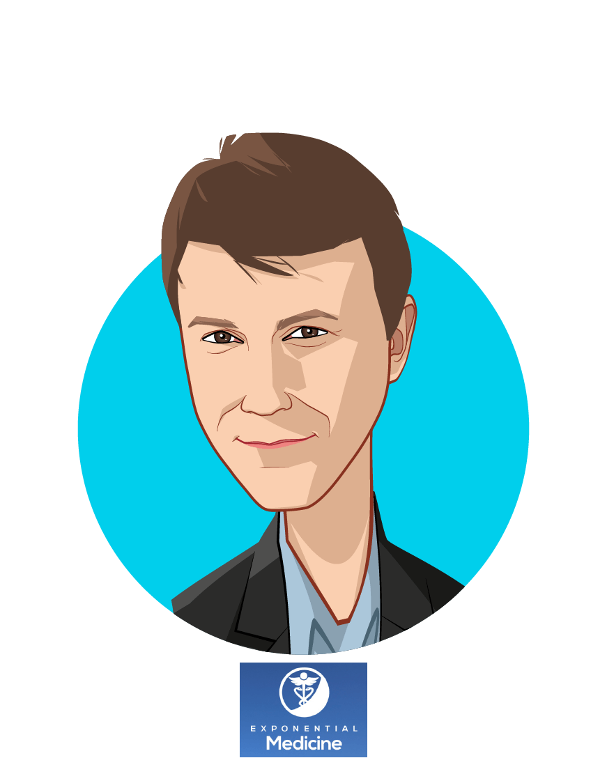 Main caricature of Daniel Kraft, MD, who is speaking at HLTH and is Founder & Chair / Faculty Chair for Medicine at Exponential Medicine / Singularity Univ